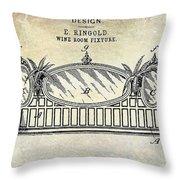 1895 Wine Room Fixture Design Patent Throw Pillow