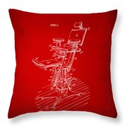 1896 Dental Chair Patent Red Throw Pillow