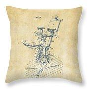 1896 Dental Chair Patent Vintage Throw Pillow