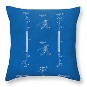 1896 Dental Excavator Patent Blueprint Throw Pillow