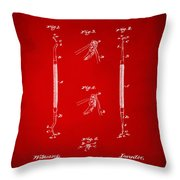 1896 Dental Excavator Patent Red Throw Pillow