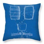 1898 Beer Keg Patent Artwork - Blueprint Throw Pillow