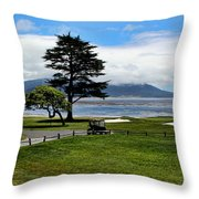 18th At Pebble Beach Panorama Throw Pillow