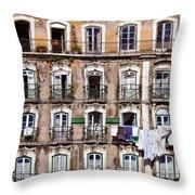 18th Century Building In Lisbon Throw Pillow