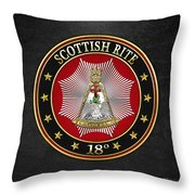 18th Degree - Knight Rose Croix Jewel On Black Leather Throw Pillow