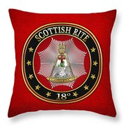 18th Degree - Knight Rose Croix Jewel On Red Leather Throw Pillow