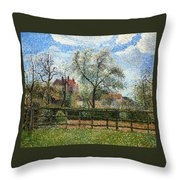 Pear Tress In Bloom Throw Pillow