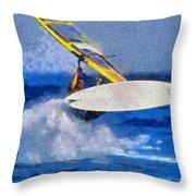 Windsurfing Throw Pillow by George Atsametakis