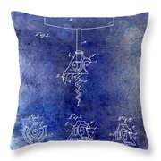 1900 Corkscrew Patent Drawing Blue Throw Pillow