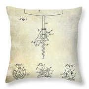1900 Corkscrew Patent Drawing Throw Pillow