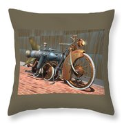 1900 Dual Rocket Steambike Throw Pillow