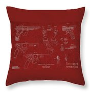 1900 Landstad Automatic Revolver Patent Throw Pillow