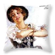 1900s 1913 Smiling German Girl Wearing Throw Pillow