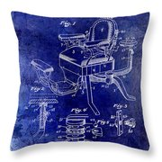 1901 Barber Chair Patent Drawing Blue Throw Pillow