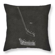 1901 Hockey Stick Patent Artwork - Gray Throw Pillow