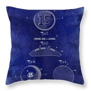 1902 Billiard Ball Patent Drawing Blue Throw Pillow