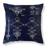 1902 Corkscrew Patent Blue  Throw Pillow