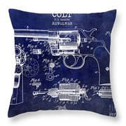 1903 Colt Revolver Patent Drawing Blue Throw Pillow