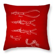 1903 Dental Pliers Patent Red Throw Pillow