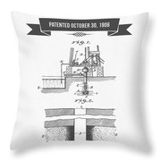 1906 Well Drilling Apparatus Patent Drawing - Retro Gray Throw Pillow