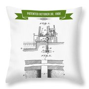 1906 Well Drilling Apparatus Patent Drawing - Retro Green Throw Pillow