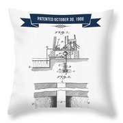 1906 Well Drilling Apparatus Patent Drawing - Retro Navy Blue Throw Pillow