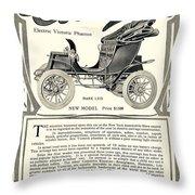 1907 - Columbia Victoria Phaeton Electric Automobile Advertisement Throw Pillow