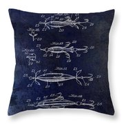 1907 Fishing Lure Patent Blue Throw Pillow