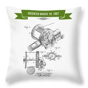 1907 Fishing Reel Patent Drawing - Green Throw Pillow