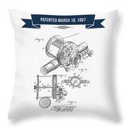 1907 Fishing Reel Patent Drawing - Navy Blue Throw Pillow