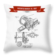 1907 Fishing Reel Patent Drawing - Red Throw Pillow