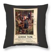 1907 Vintage Kodak Tank Advertising Throw Pillow