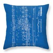 1908 Flute Patent - Blueprint Throw Pillow