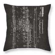 1908 Flute Patent - Gray Throw Pillow