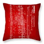 1908 Flute Patent - Red Throw Pillow