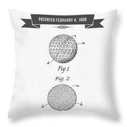 1908 Taylor Golf Ball Patent Drawing - Retro Gray Throw Pillow