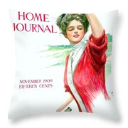1909 - Ladies Home Journal Magazine Cover - November - Color Throw Pillow