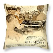 1909 - Oldsmobile Advertisement - Color Throw Pillow