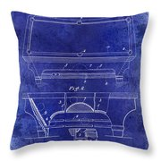 1909 Billiard Table Patent Drawing Blue Throw Pillow