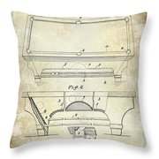 1909 Billiard Table Patent Drawing  Throw Pillow