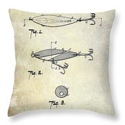 1909 Fishing Lure Patent Drawing Throw Pillow
