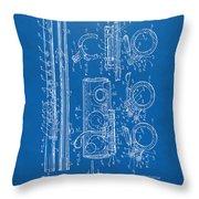 1909 Flute Patent - Blueprint Throw Pillow