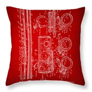 1909 Flute Patent In Red Throw Pillow