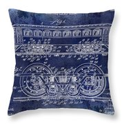 1909 Railway System Patent Drawing Blue Throw Pillow