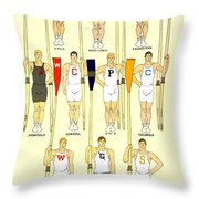 1910 - College Crew Poster - Rowing - Edward Penfield - Color Throw Pillow