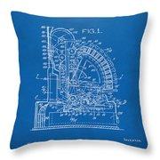 1910 Cash Register Patent Blueprint Throw Pillow