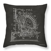 1910 Cash Register Patent Gray Throw Pillow