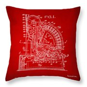 1910 Cash Register Patent Red Throw Pillow