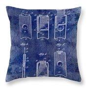 1910 Cigar Cutter Patent Drawing Blue Throw Pillow