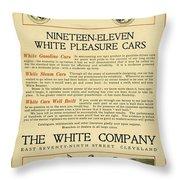 1911 - White Automobile Company Advertisement Throw Pillow